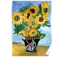 Sunflowers in Darth Vader Vase Poster