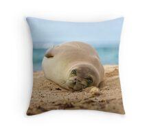 monk seal sleeping on beach  Throw Pillow