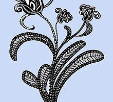 Stylized Botanical Drawing Tulip Blue Background by Cory Behara