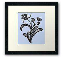 Stylized Botanical Drawing Tulip Blue Background Framed Print