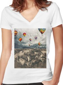 Balloons. Women's Fitted V-Neck T-Shirt