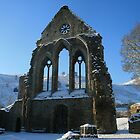 Abbey ruins in snow. by Amanda Gazidis