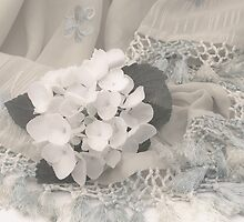 White Hydrangea Flower And Fringed Sari  by Sandra Foster