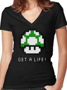 Mario Mushroom Get A Life Women's Fitted V-Neck T-Shirt