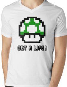 Mario Mushroom Get A Life Mens V-Neck T-Shirt