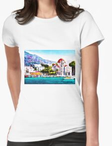 Tranquil harbour Womens Fitted T-Shirt