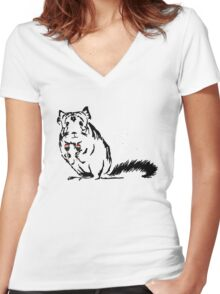 Chinchilla Party print Women's Fitted V-Neck T-Shirt