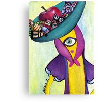 Banana with Robot Hat Canvas Print