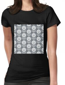 Cool Grey Fun Smiling Cartoon Flowers Womens Fitted T-Shirt