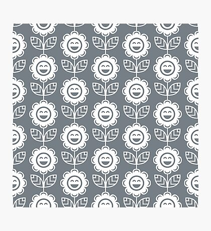 Cool Grey Fun Smiling Cartoon Flowers Photographic Print