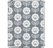 Cool Grey Fun Smiling Cartoon Flowers iPad Case/Skin
