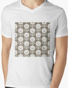 Warm Grey Fun Smiling Cartoon Flowers Mens V-Neck T-Shirt