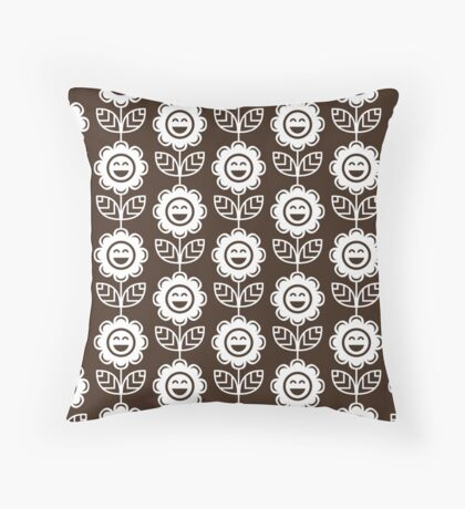 Chocolate Fun Smiling Cartoon Flowers Throw Pillow