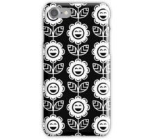 Black Fun Smiling Cartoon Flowers iPhone Case/Skin