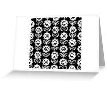 Black Fun Smiling Cartoon Flowers Greeting Card