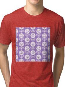 Lavander Fun Smiling Cartoon Flowers Tri-blend T-Shirt