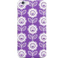 Light Purple Fun Smiling Cartoon Flowers iPhone Case/Skin
