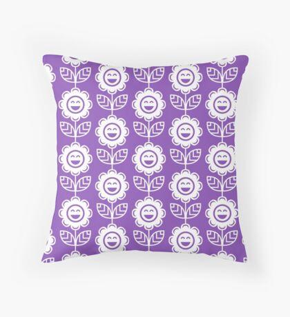 Light Purple Fun Smiling Cartoon Flowers Throw Pillow