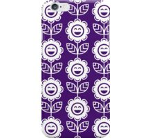 Purple Fun Smiling Cartoon Flowers iPhone Case/Skin