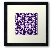 Purple Fun Smiling Cartoon Flowers Framed Print