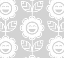 Light Grey Fun Smiling Cartoon Flowers Sticker