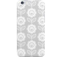 Light Grey Fun Smiling Cartoon Flowers iPhone Case/Skin