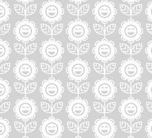 Light Grey Fun Smiling Cartoon Flowers by ImageNugget