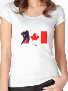 Canada - Canadian National Flag Hockey T-Shirt Top Women's Fitted Scoop T-Shirt