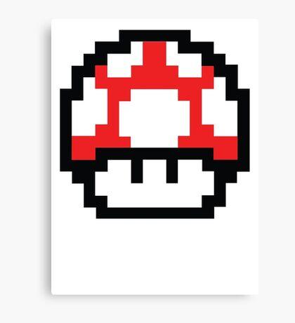 8-Bit Mario Nintendo Mushroom Red Canvas Print