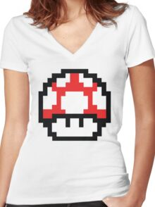 8-Bit Mario Nintendo Mushroom Red Women's Fitted V-Neck T-Shirt