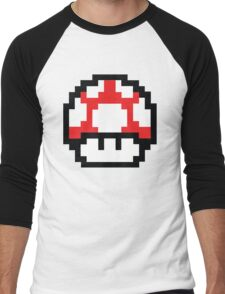 8-Bit Mario Nintendo Mushroom Red Men's Baseball ¾ T-Shirt
