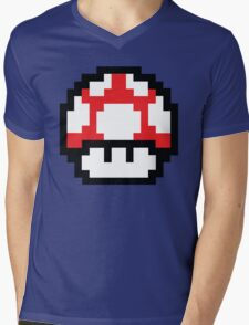 8-Bit Mario Nintendo Mushroom Red Mens V-Neck T-Shirt