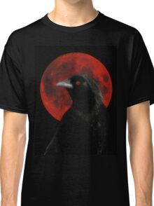 Crow And Red Moon Glow Classic T-Shirt