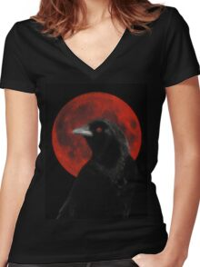 Crow And Red Moon Glow Women's Fitted V-Neck T-Shirt
