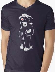 Death Is A Cat Person Mens V-Neck T-Shirt