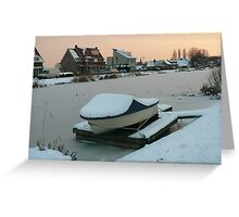 snow covered boat Greeting Card