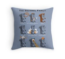 The Squirrel Family Throw Pillow