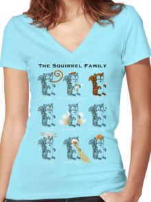 The Squirrel Family Women's Fitted V-Neck T-Shirt