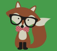 Red Bow Tie Hipster Fox Kids Tee
