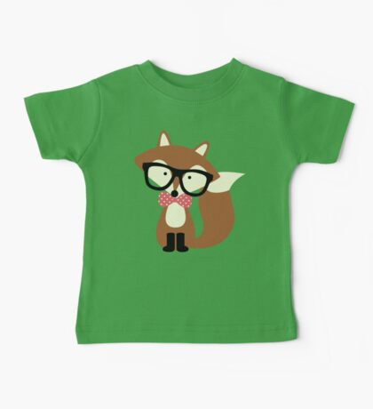 Red Bow Tie Hipster Fox Baby Tee