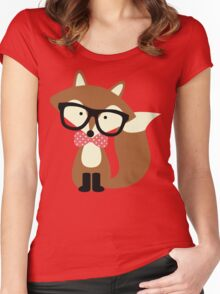 Red Bow Tie Hipster Fox Women's Fitted Scoop T-Shirt