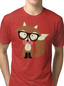 Red Bow Tie Hipster Fox Tri-blend T-Shirt
