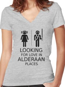 Looking for love in Alderaan places Women's Fitted V-Neck T-Shirt