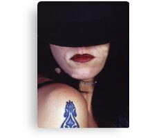 samantha in black hat Canvas Print