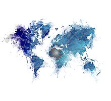 World Map Wind Rose splash by JBJart