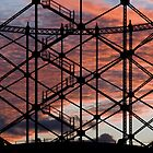 Sunset through Gasometer Gillingham Kent by brimo