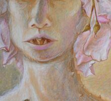 Rosewoman - Portrait In Crayon With Thorns For Teeth Sticker