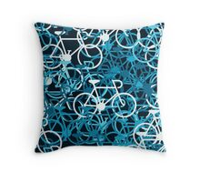 Blue Note Bicycles Throw Pillow