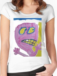 Toby - Pink Graphic Face Women's Fitted Scoop T-Shirt