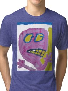 Toby - Pink Graphic Face Tri-blend T-Shirt